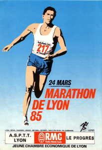 AFFICHE MARATHON DE LYON 1985