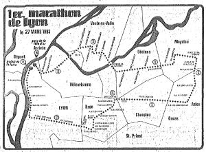 Parcours Marathon de Lyon 1983